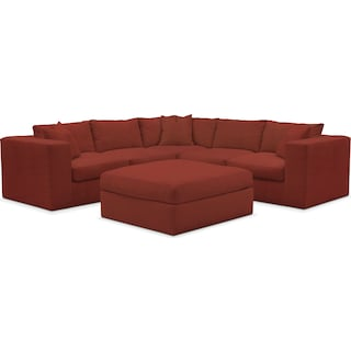 Collin Cumulus 5-Piece Sectional and Ottoman - Modern Velvet Cayenne