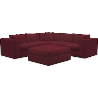 Collin Comfort 5-Piece Sectional and Ottoman - Modern Velvet Wine