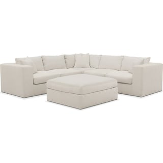 Collin Comfort 5-Piece Sectional and Ottoman - Anders Ivory