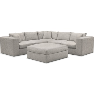 Collin Comfort 5-Piece Sectional and Ottoman - Living Large White