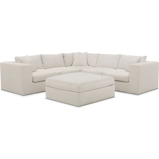 Collin Cumulus 5-Piece Sectional and Ottoman - Anders Ivory
