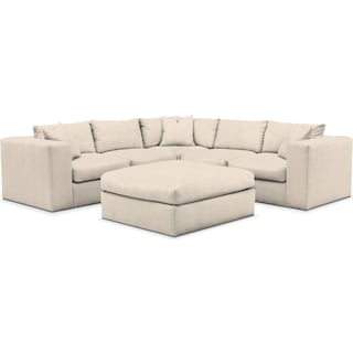 Collin Comfort 5-Piece Sectional and Ottoman - Pearl