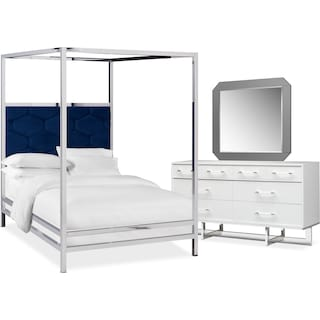 Concerto 5-Piece King Canopy Bedroom Set with Dresser and Mirror - Blue Velvet
