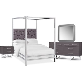 Concerto 6-Piece Queen Canopy Bedroom Set with Nightstand, Dresser and Mirror - Gray