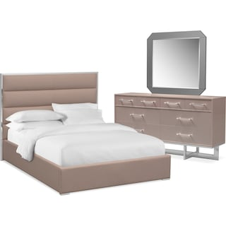 Concerto 5-Piece King Bedroom Set with Dresser and Mirror - Champagne
