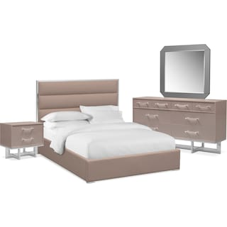 Concerto 6-Piece Queen Bedroom Set with Nightstand, Dresser and Mirror - Champagne