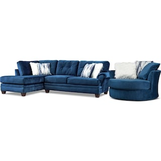 Cordelle 2-Piece Sectional with Left-Facing Chaise and Swivel Chair Set - Blue