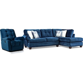 Cordelle 2-Piece Sectional with Right-Facing Chaise and Manual Recliner - Blue