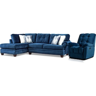 Cordelle 2-Piece Sectional with Left-Facing Chaise and Manual Recliner - Blue