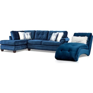 Cordelle 2-Piece Sectional with Left-Facing Chaise and Chaise - Blue