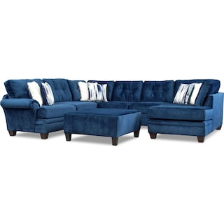 Cordelle 3-Piece Sectional with Right-Facing Chaise and Ottoman - Blue