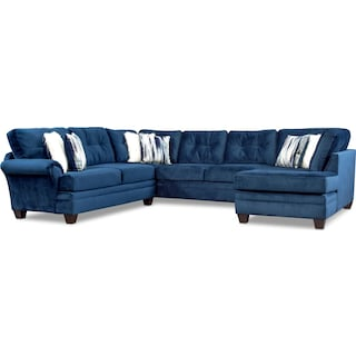 Cordelle 3-Piece Sectional with Right-Facing Chaise - Blue