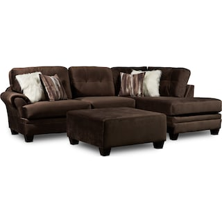 Cordelle 2-Piece Sectional with Right-Facing Chaise and Ottoman - Chocolate