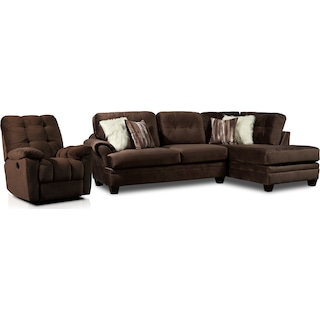 Cordelle 2-Piece Sectional with Right-Facing Chaise and Manual Recliner - Chocolate