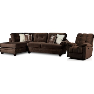 Cordelle 2-Piece Sectional with Left-Facing Chaise and Manual Recliner - Chocolate
