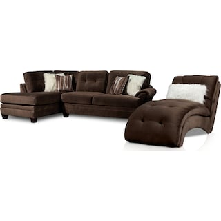Cordelle 2-Piece Left-Facing Sectional and Chaise - Chocolate