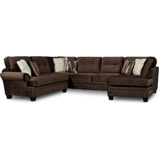 Cordelle 3-Piece Sectional with Right-Facing Chaise - Chocolate