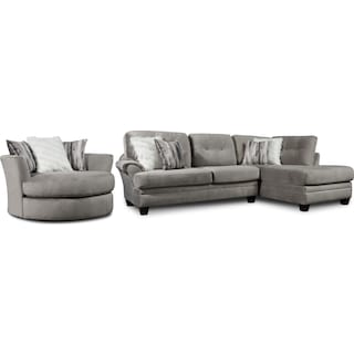 Cordelle 2-Piece Sectional with Right-Facing Chaise and Swivel Chair Set - Gray