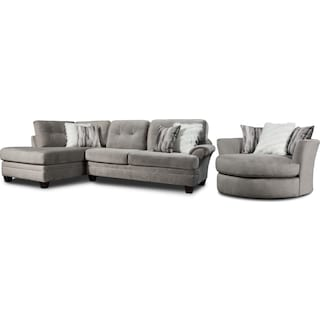 Cordelle 2-Piece Sectional with Left-Facing Chaise and Swivel Chair Set - Gray