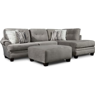 Cordelle 2-Piece Sectional with Right-Facing Chaise + FREE OTTOMAN - Gray