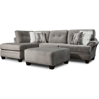 Cordelle 2-Piece Sectional with Left-Facing Chaise and Ottoman - Gray
