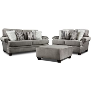 Cordelle Sofa, Loveseat and Ottoman - Gray