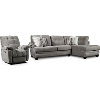 Cordelle 2-Piece Sectional with Right-Facing Chaise and Manual Recliner - Gray
