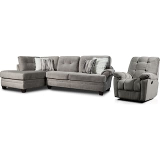 Cordelle 2-Piece Sectional with Left-Facing Chaise and Manual Recliner - Gray