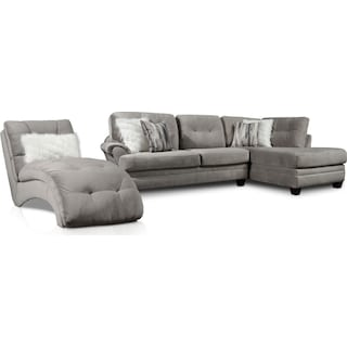 Cordelle 2-Piece Right-Facing Sectional and Chaise - Gray