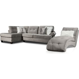 Cordelle 2-Piece Sectional with Left-Facing Chaise and Chaise - Gray