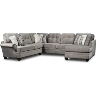 Cordelle 3-Piece Sectional with Right-Facing Chaise - Gray