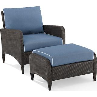 Corona Outdoor Chair and Ottoman Set - Blue
