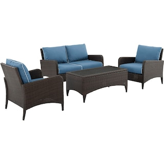 Corona Outdoor Loveseat, Set of 2 Chairs and Coffee Table - Blue