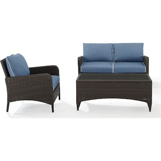 Corona Outdoor Loveseat, Chair and Coffee Table Set - Blue