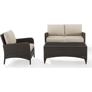 Corona Outdoor Loveseat, Chair and Coffee Table Set - Sand