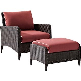 Corona Outdoor Chair and Ottoman Set - Sangria