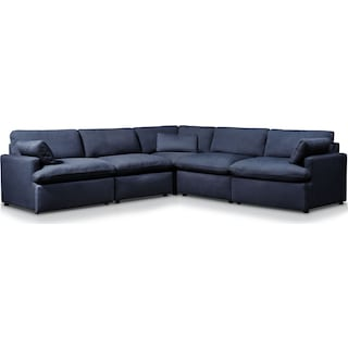Cozy 5-Piece Power Reclining Sectional with 1 Reclining Seat - Navy