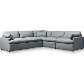 Cozy 5-Piece Power Reclining Sectional with 1 Reclining Seat - Gray