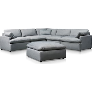 Cozy 5-Piece Sectional with Ottoman - Gray