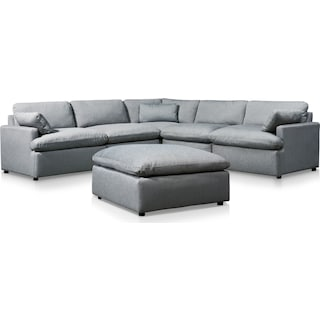 Cozy 5-Piece Power Reclining Sectional with Ottoman and 2 Reclining Seats - Gray
