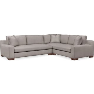 Ethan Comfort 2-Piece Large Sectional with Left-Facing Sofa - Curious Silver Pine