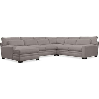 Winston Cumulus 4-Piece Sectional with Left-Facing Chaise - Curious Silver Pine