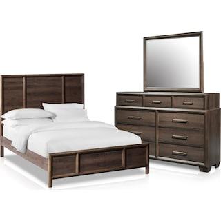 Dakota 5-Piece Queen Panel Bedroom Set with Dresser and Mirror