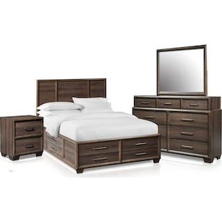 Dakota 6-Piece Queen Panel Storage Bedroom Set with Nightstand, Dresser and Mirror
