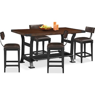 Newcastle Counter-Height Dining Table and 4 Stools - Mahogany