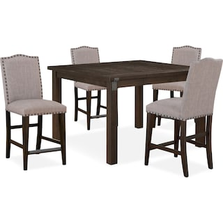 Hampton Counter-Height Dining Table and 4 Upholstered Stools - Cocoa