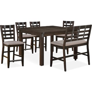 Hampton Counter-Height Dining Table, 4 Stools and Bench - Cocoa