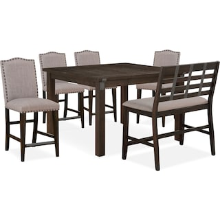 Hampton Counter-Height Dining Table, 4 Upholstered Stools and Bench - Cocoa