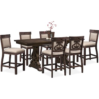 Charthouse Counter-Height Dining Table and 6 Upholstered Stools - Charcoal