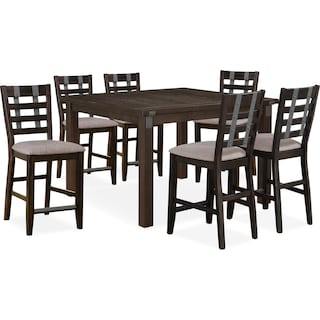 Hampton Counter-Height Dining Table and 6 Stools - Cocoa